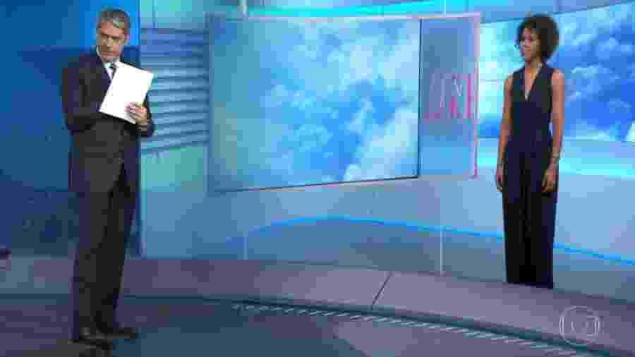 """William Bonner e Maju no """"Jornal Nacional"""" - Reprodução/Globo"""