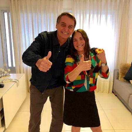 Regina Duarte em visita a Jair Bolsonaro, candidato à Presidência da República pelo PSL - Reprodução/Twitter