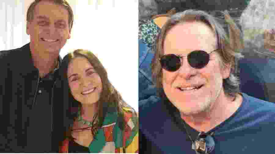 Regina Duarte com Bolsonaro e o ator José de Abreu - Montagem UOL