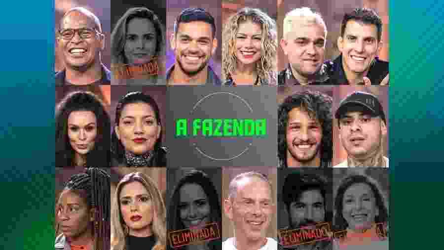 """Os participantes que continuam em """"A Fazenda 10"""" depois da quarta roça - Montagem/Edu Moraes/Record TV"""