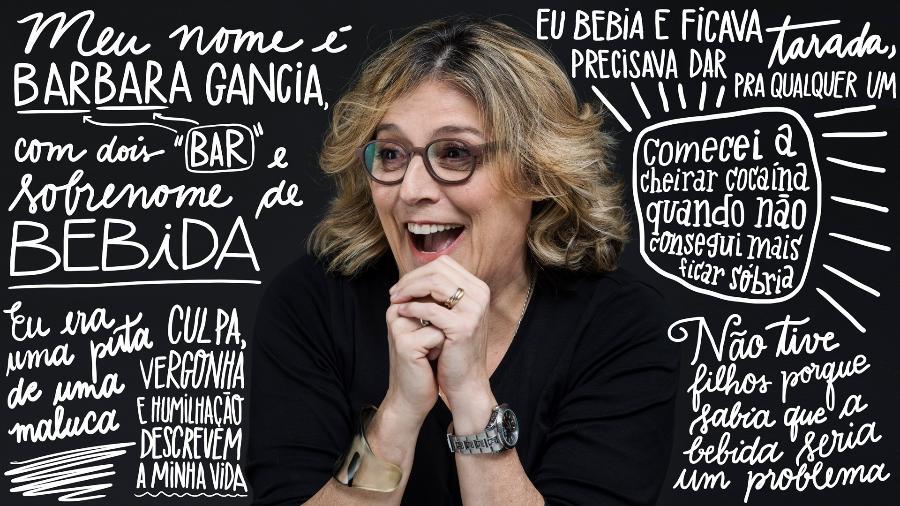 """Barbara Gancia lançou o livro """"A Saideira"""", em que conta sua trajetória na luta contra o alcoolismo - Divulgação/Arte UOL"""