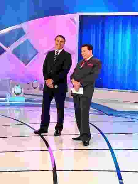 """Bolsonaro e Silvio gravam o """"Programa Silvio Santos"""" no SBT - Reprodução / Instagram"""