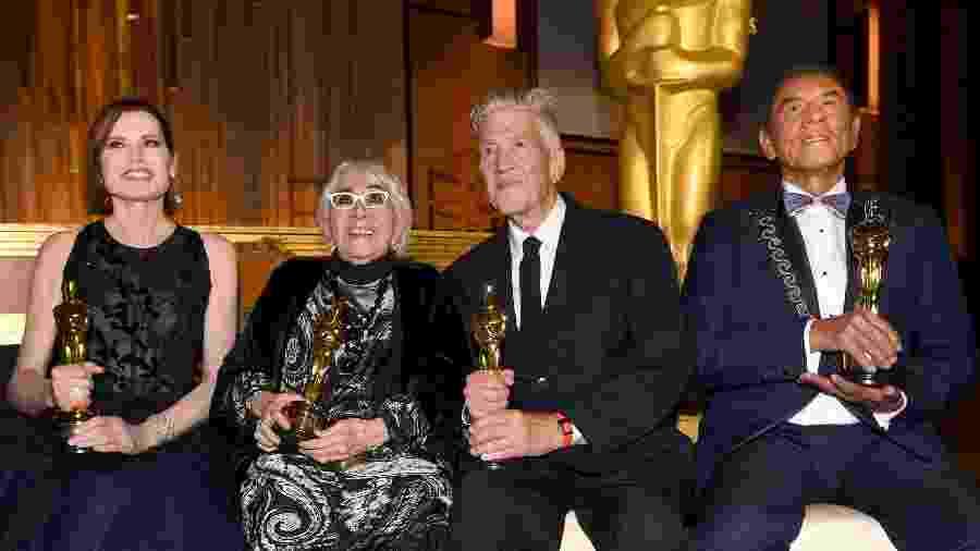 A atriz Geena Davis e a cineasta Lina Wertmuller receberam Oscars honorários em uma cerimônia repleta de estrelas - Getty Images