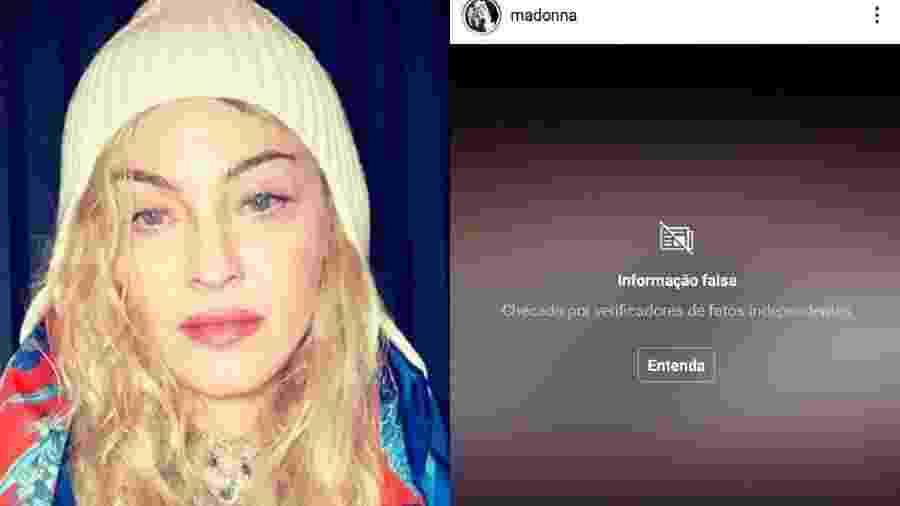 """Madonna tem publicação marcada como """"fake news"""" no Instagram - Reprodução/Instagram"""
