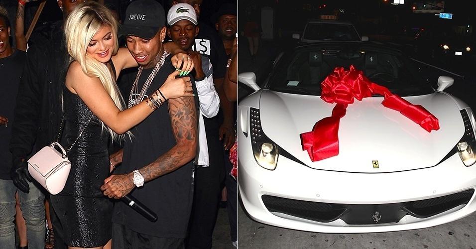 10.ago.2015 - A caçula das Kardashian, Kylie, completa 18 anos nesta segunda-feira, e ganhou do namorado, o rapper Tyga, nada mais nada menos que uma Ferrari no valor de 1,4 milhão de reais