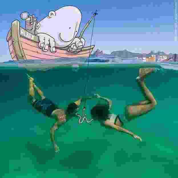 Imagem do artista gaúcho Lucas Levitan, que faz intervenções em fotos alheias na rede social - Divilgação/Lucas Levitan