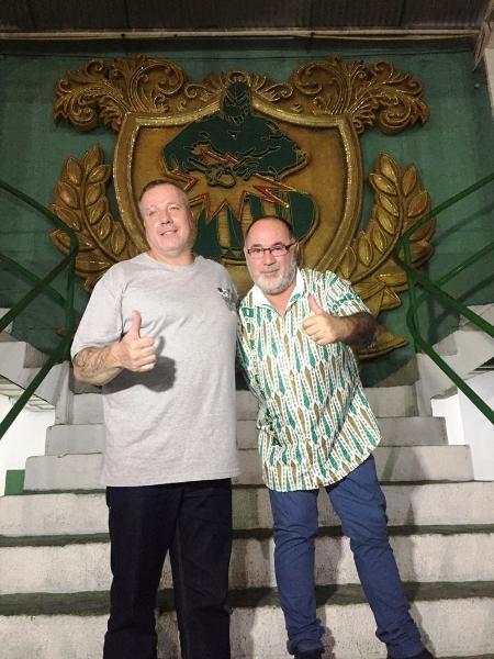 Paulo Serdan (esq), presidente da Mancha Verde, e o carnavalesco Jorge Freitas - Imprensa Mancha Verde / Divulgação