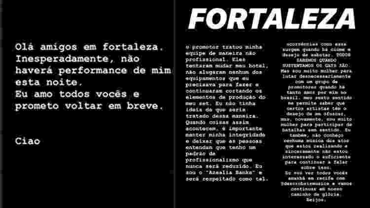 Mensagem postada por Azealia Banks sobre show em Fortaleza - Reprodução/Instagram - Reprodução/Instagram