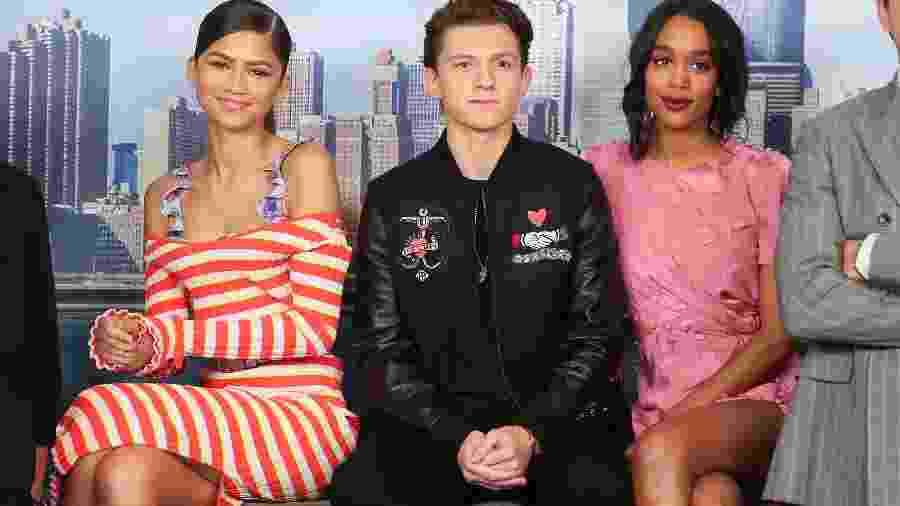 """25.06.2017 - Da esq. para a dir.: Zendaya, Tom Holland e Laura Harrier promovem """"Homem-Aranha: De Volta ao Lar"""" em Nova York (EUA) - Rob Kim/Getty Images"""