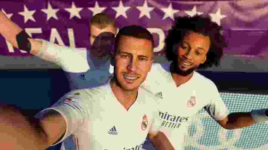 Os craques do Real Madrid na comemoração de Selfie em FIFA 21 - Reprodução/EA Sports