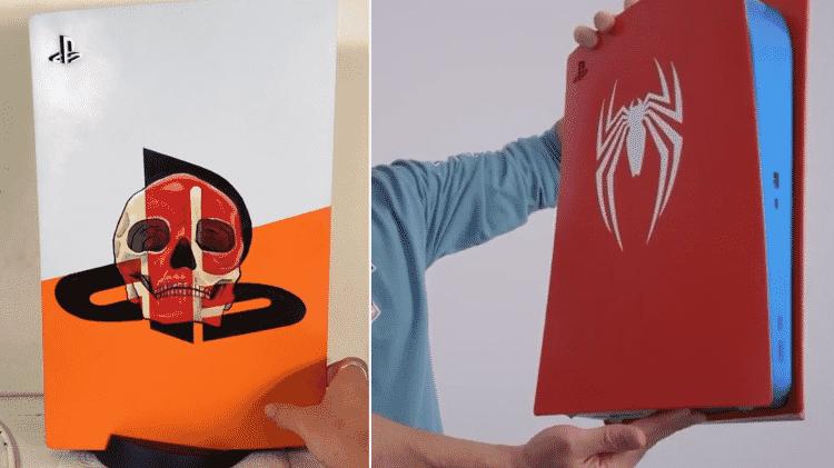 Placas customizadas de PS5 - Reprodução / Reddit (@craayoons, @Aclysmic) - Reprodução / Reddit (@craayoons, @Aclysmic)