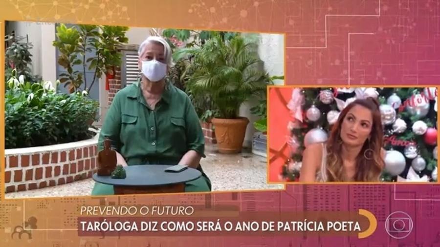 A taróloga Glória Britho e a apresentadora Patrícia Poeta durante o Encontro - Reprodução/Globo