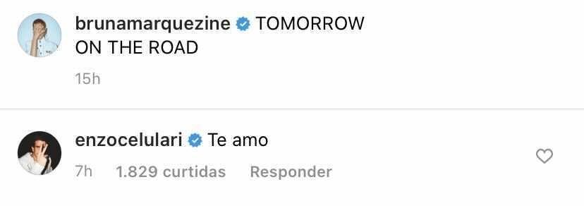 Enzo Celulari comenta na foto de Bruna Marquezine