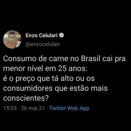 Enzo Celulari fez tweet questionando queda no consumo de carne - Reprodução/Twitter - Reprodução/Twitter