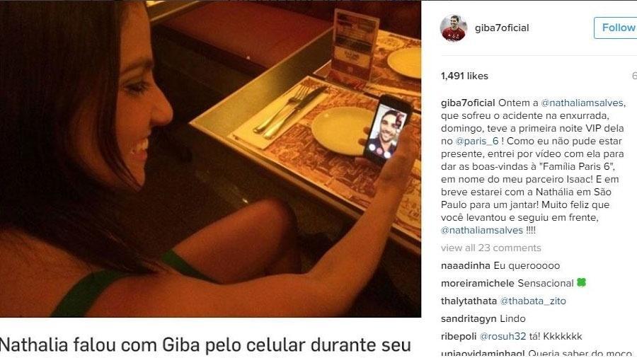 Giba postou em seu Instagram um registro de Nathalia conversando com ele - Reprodução/Instagram