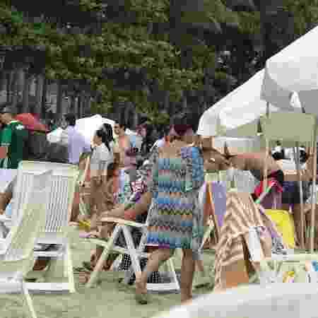 Hóspedes do Hotel Sofitel Jequitimar, no Guarujá, são transferidos para a praia após explosão - Arquivo pessoal - Arquivo pessoal