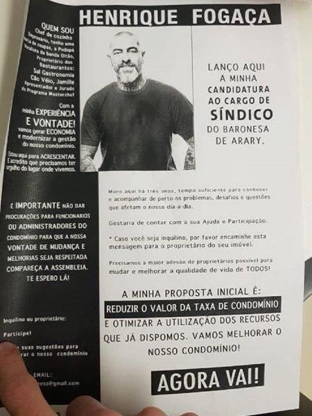 Fogaça lança campanha para síndico de prédio - Reprodução/Twitter