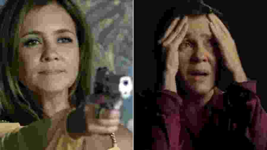 """Adriana Esteves como Laureta, em """"Segundo Sol"""", e Stela, em """"Assédio"""" - Reprodução/TV Globo"""