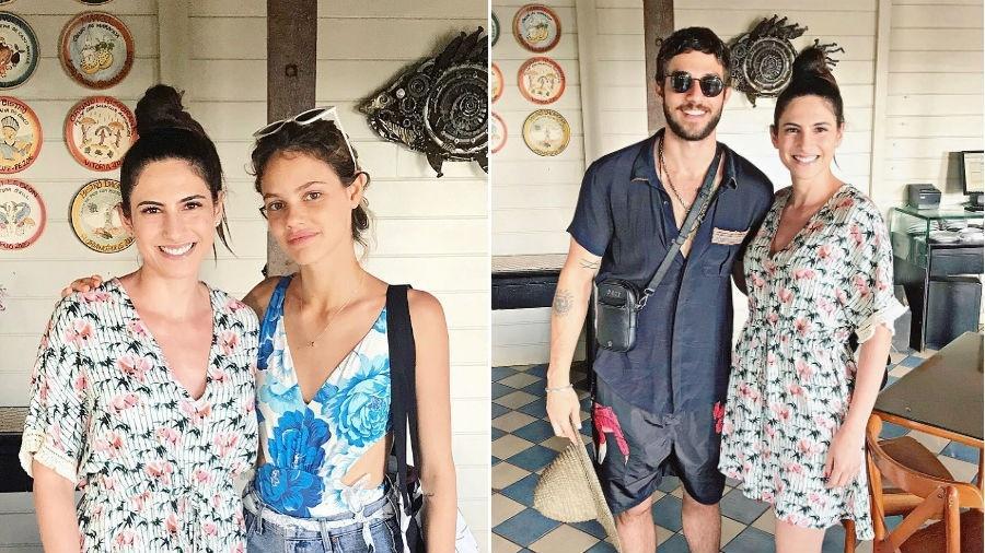 Laura Neiva e Chay Suede posam com fã - Reprodução/Instagram