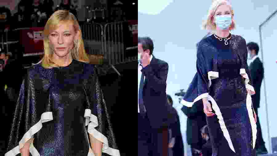 Cate Blanchett em Londres em 2015 (à esq.) e no Festival de Veneza em 2020 (à dir.) - Fotos Getty Images/Montagem UOL
