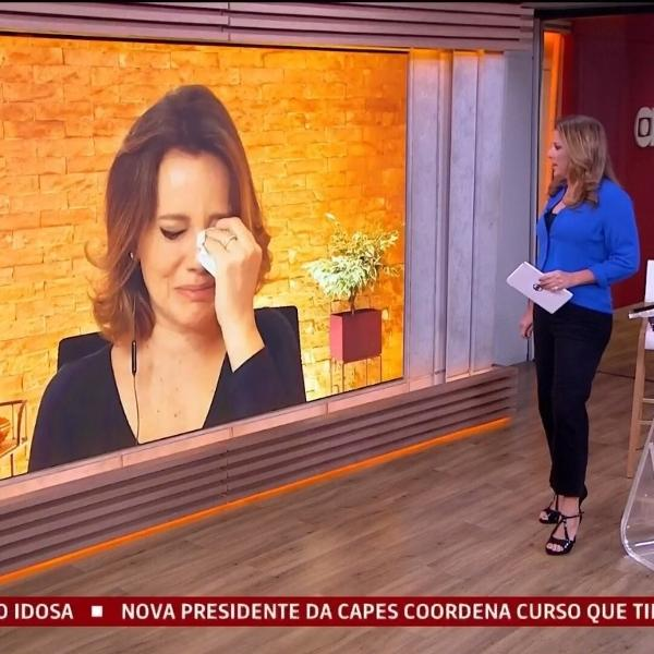 "Natuza Nery se emocionou durante o ""Jornal GloboNews"""