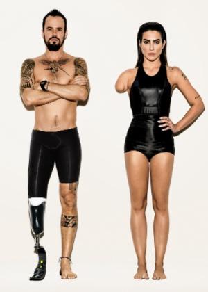 """Paulo Vilhena e Cleo Pires posam """"photoshopados"""" como atletas paralímpicos para a campanha """"Somos Todos Paraolímpicos"""" - André Passos/Divulgação"""