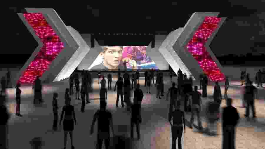 Projeção do Digital Stage, palco do Rock in Rio que vai receber apresentações de youtubers - Divulgação