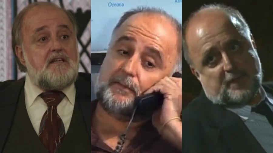 """Ricardo Pavão em """"Êta Mundo Bom"""" (2016), """"Chamas da Vida"""" (2008) e """"Cobras e Lagartos"""" (2006). Nas três, ele interpretou delegados - Reprodução/TV Globo/Record TV/Montagem UOL"""