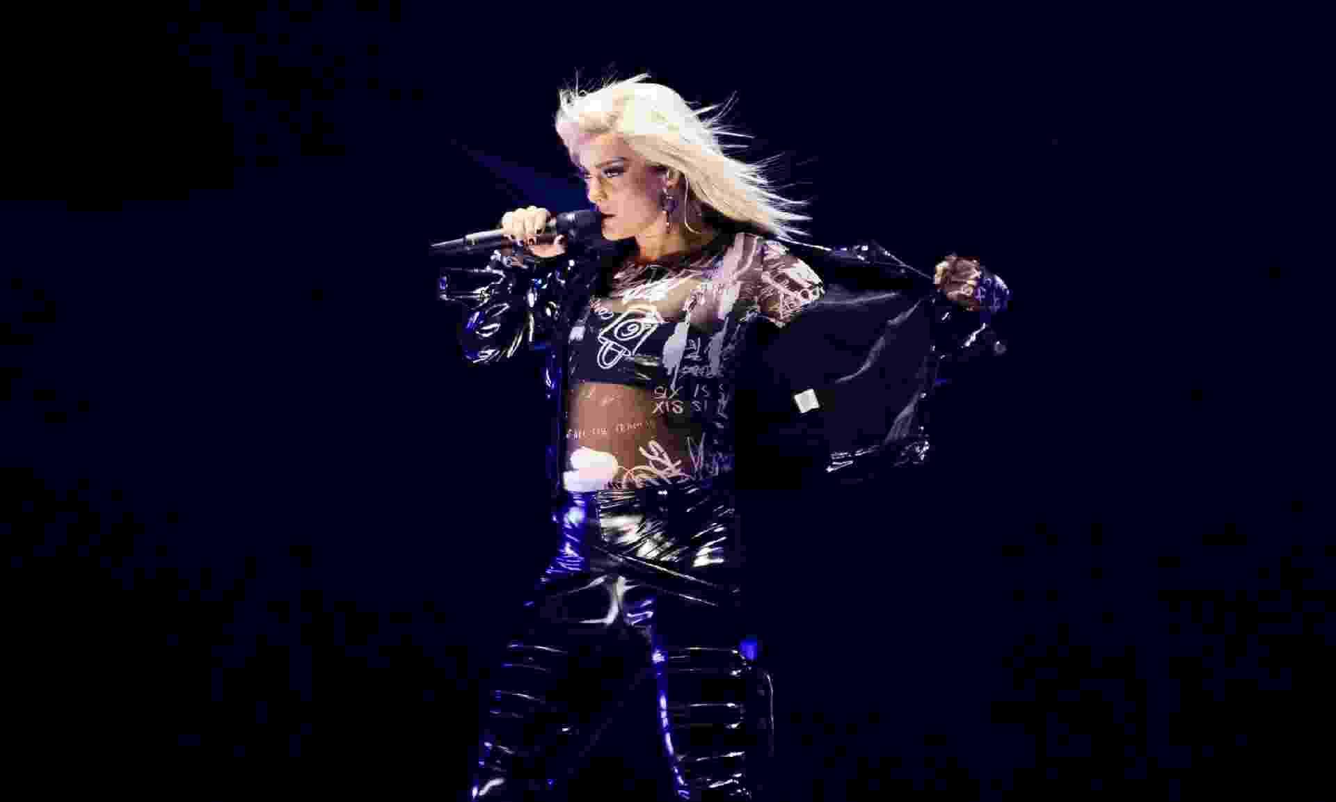 """A cantora Bebe Rexha fez o show de abertura para Katy Perry no Allianz Parque, em São Paulo. Dona do hit """"I Got You"""", que ganhou uma versão brasileira da Banda A Favorita chamada """"Só Da Tu"""" - Mariana Pekin/UOL"""