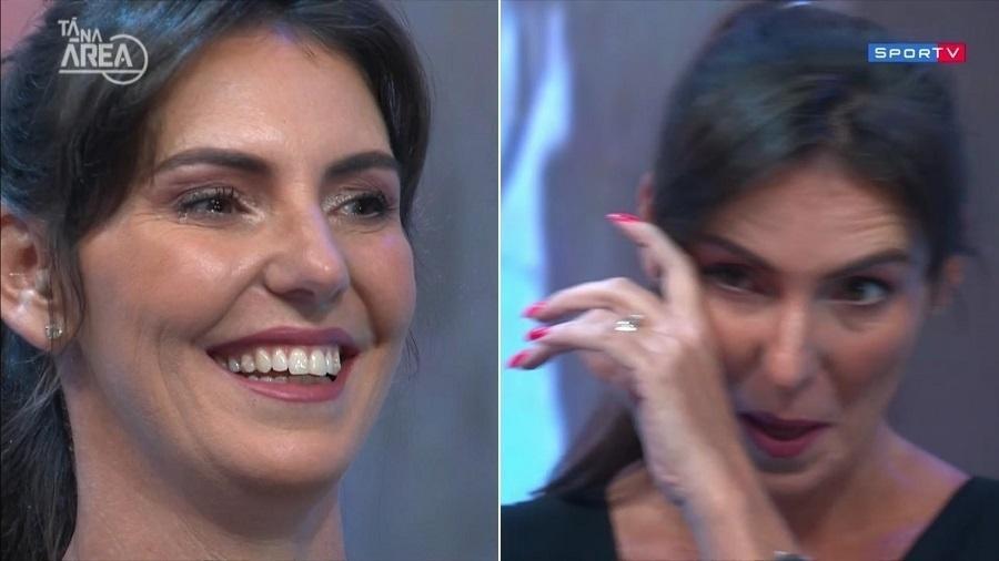 """Glenda Kozlowski chora em sua estreia no """"Tá na Área"""", programa do SporTV - Montagem/UOL/Reprodução/SporTV"""