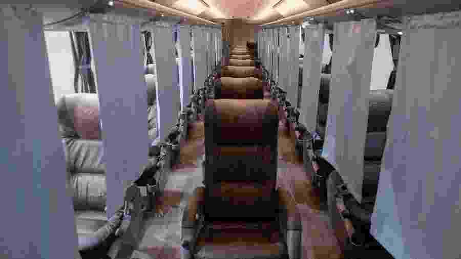 Interior do ônibus Biosafe, da Marcopolo, o primeiro do Brasil a prometer proteção contra o coronavírus - Divulgação