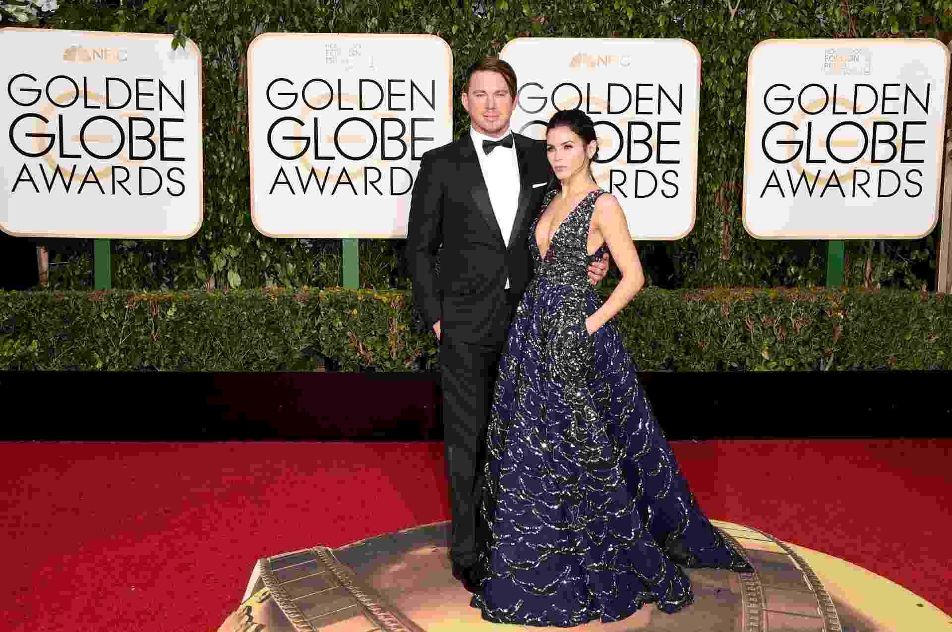 20.jan.2016 - Channing Tatum e a mulher, Jenna Dewan-Tatum, chegam ao Globo de Ouro 2016 - Jason Merrit/Getty Images