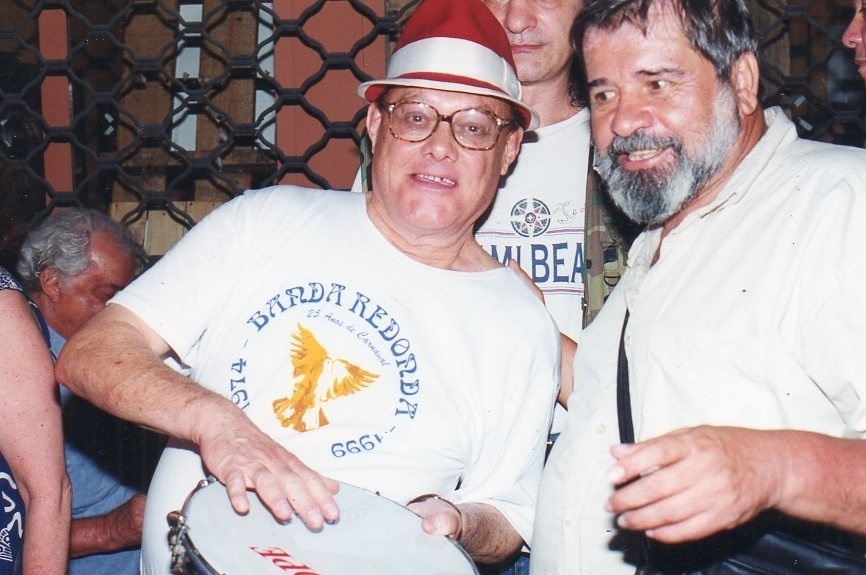 Germano Mathias e Plínio Marcos no desfile de 1999, pouco antes da morte do dramaturgo