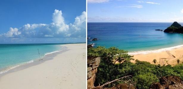 Grace Bay (esq.), em Turks e Caicos, desbancou a Baía do Sancho (dir.) - Divulgação e Antônio Melcop/Divulgação