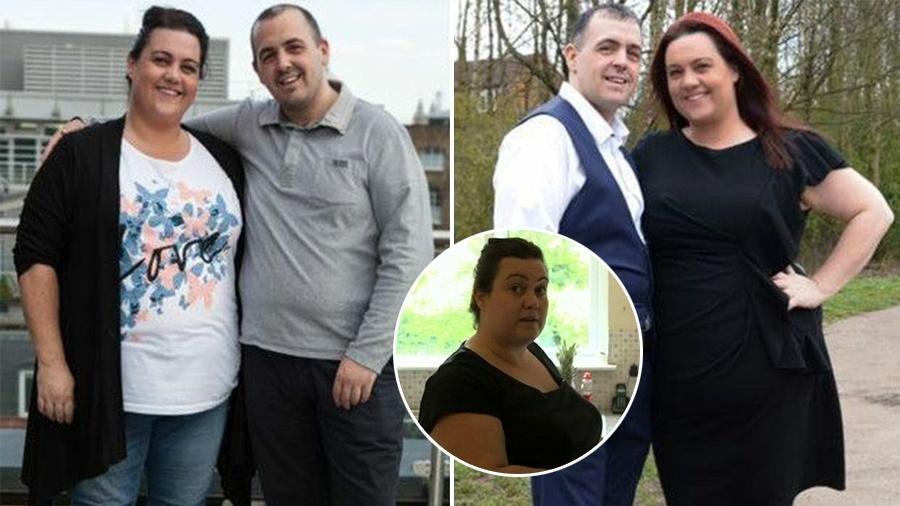 Casal Celena e Pete antes (à esquerda) e depois (à direita) do programa de perda de peso - BBC Renegade Pictures/Montagem