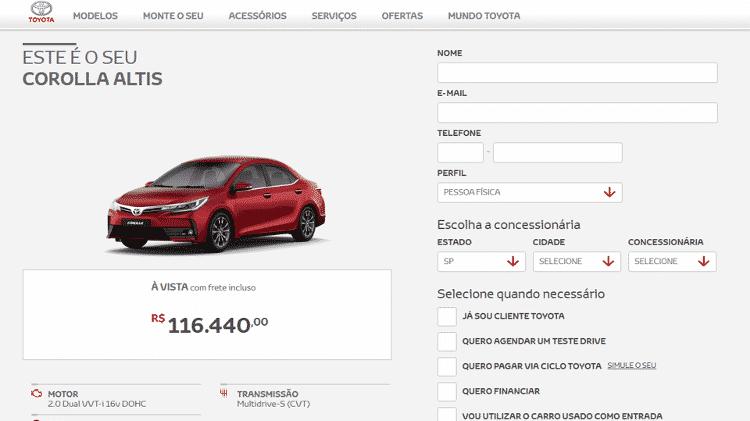 Corola Altis site R$ 116.440 - Reprodução/Internet - Reprodução/Internet