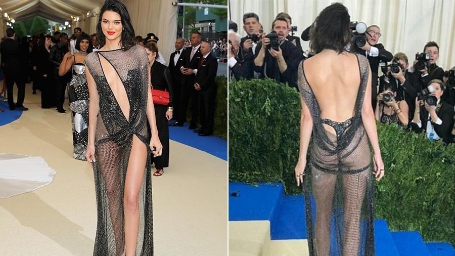 Kendall Jenner usa vestido todo transparente no baile do Met Gala