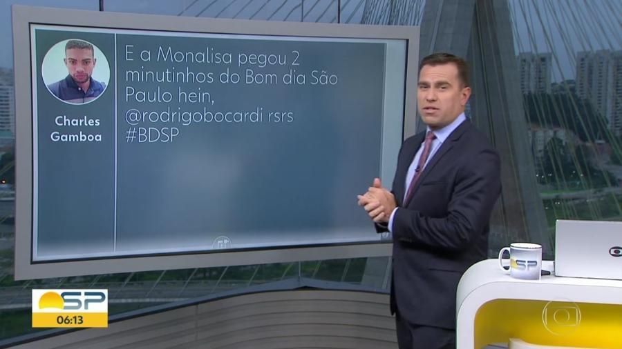 """Rodrigo Bocardi alfineta Monalisa Perrone no """"Bom Dia SP"""", telejornal local da Globo - Reprodução/TV Globo"""