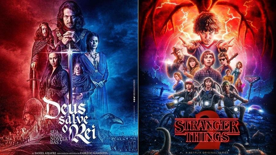 """Pôsteres de """"Deus Salve o Rei"""" e """"Stranger Things"""" têm semelhanças - Montagem/UOL"""