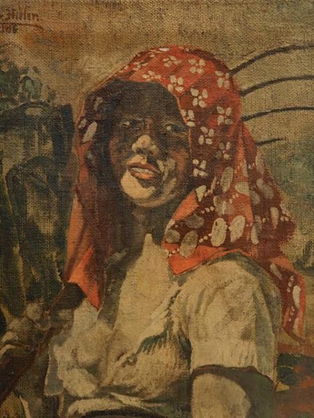 Suposto quadro pintado por Hitler em que retrata a amante Charlotte Lobjoie - Reprodução