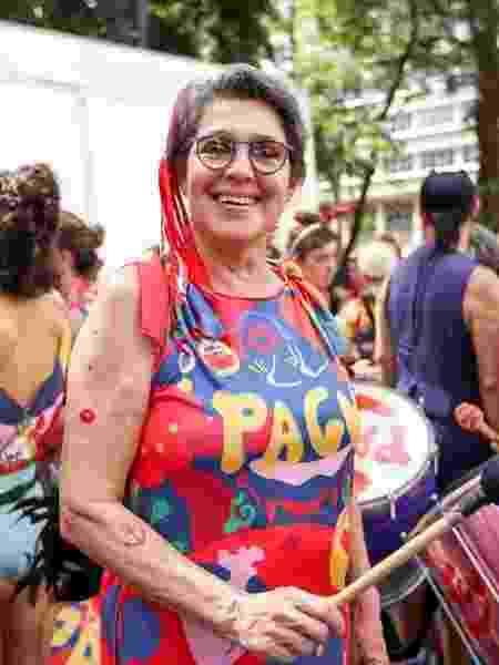 A foliona Ciça Correa no Bloco Pagu, que saiu da praça da República, no centro de SP - Marcelo Justo/UOL