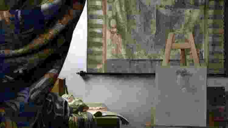 """Estúdio do artista, um reinterpretação de """"A arte da pintura"""", de Johannes Vermeer - Twitter/José Manuel Ballester - Twitter/José Manuel Ballester"""