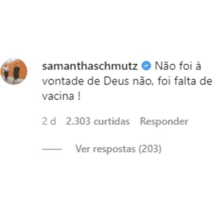 Comentário de Samantha Schmütz na foto de Gabriela Pugliesi - Reprodução/Instagram - Reprodução/Instagram
