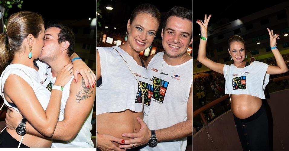 5.fev.2016 - O sertanejo Bruno Belutti e a atriz Thaís Pacholek, que está grávida de um menino, curtem Camarote Salvador no Circuito Barra-Ondina. O bebê deve nascer em maio e já tem nome, Luiz Miguel