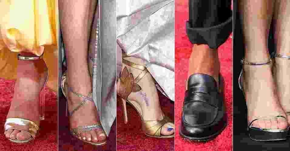 Montagem: sapatos dos famosos no Oscar 2016 - Getty Images