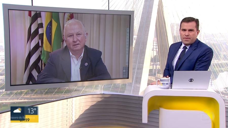 """Entrevista de Rodrigo Bocardi com o prefeito regional Paulo Cahim termina em climão no """"Bom Dia SP"""" - Reprodução/Globo"""