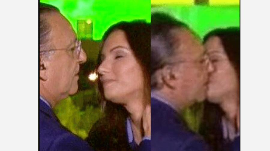 Montagem de falso beijo entre Patrícia Poeta e Galvão Bueno que circula na web - Reprodução/Instagram