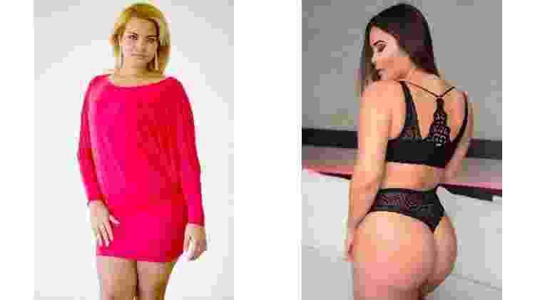 Geisy Arruda com o vestido que provocou sua expulsão da universidade, em 2009, e em ensaio recente de lingerie - Reprodução / Instagram - Reprodução / Instagram
