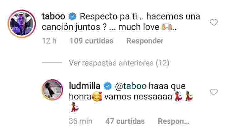 Troca de mensagens entre Ludmilla e Taboo - Reprodução/Instagram - Reprodução/Instagram