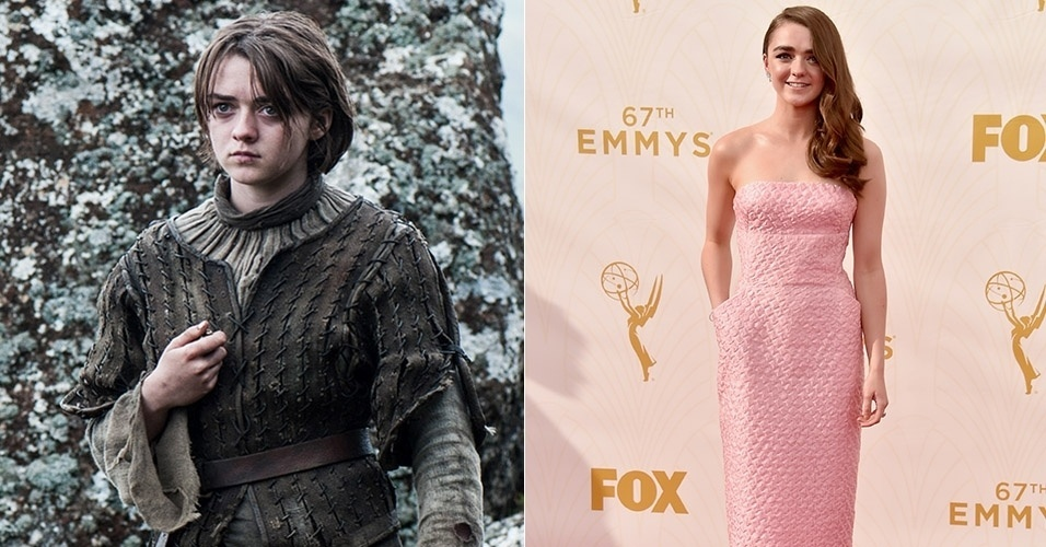 "Maisie Williams deixou o visual masculino de Arya Stark na quinta temporada de ""Game of Thrones"" e surgiu delicada e fofa como uma Barbie no tapete vermelho do Emmy Awards"